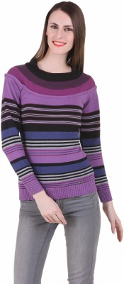 Juelle Juelle Striped Round Neck Casual Women's Sweater (Blue)