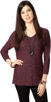 People Geometric Print V-neck Casual Women's Sweater