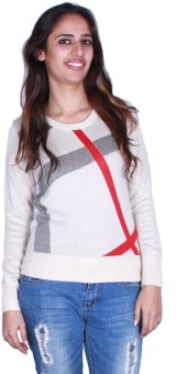GnC Top Geometric Print Round Neck Casual Women's Sweater