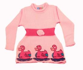 Deetya Woven, Animal Print Round Neck Girl's Sweater