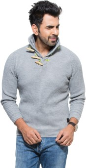 Zovi Grey Solid Turtle Neck Casual Men's Sweater