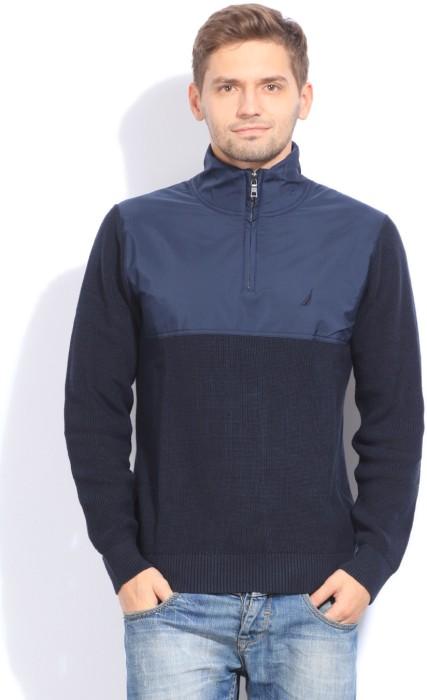 Nautica Solid Turtle Neck Casual Men's Sweater