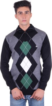 Fabtree Argyle, Solid Turtle Neck, V-neck Casual, Party, Festive Men's Sweater - SWTEBVQ3FBJB3ZGP