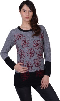 Sportking Floral Print Round Neck Casual Women's Sweater