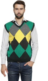 Leebonee Argyle V-neck Casual Men's Sweater