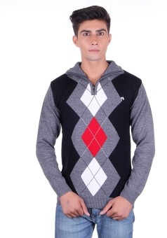 Fabtree Argyle, Solid Turtle Neck, V-neck Casual, Party, Festive Men's Sweater - SWTEBVQ3XGUQWEYX