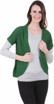 Juelle Juelle Self Design Round Neck Casual Women's Sweater (Green)