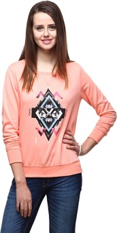 Yepme Peach Full Sleeve Graphic Print Women's Sweatshirt