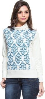 Zovi Off White With Blue Baroque Print Full Sleeve Printed Women's Sweatshirt