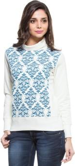 Zovi Off White With Blue Baroque Print Full Sleeve Printed Women's Sweatshirt