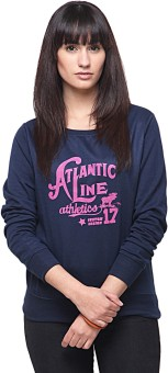 Yepme Navy Blue Full Sleeve Graphic Print Women's Sweatshirt