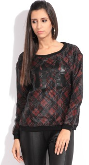 Vero Moda Full Sleeve Checkered Women's Sweatshirt: Sweatshirt