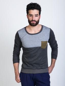 Mr Button Dark With Contrast Panel Full Sleeve Solid Men's Sweatshirt