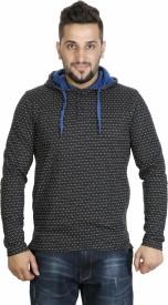 BK Black Full Sleeve Polka Print Men's Sweatshirt
