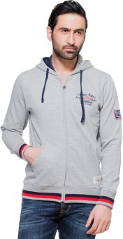 Zovi Grey Zippered With Red And Blue Hood Full Sleeve Solid Men's Sweatshirt