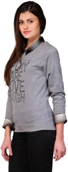 Yepme Women's Grey Full Sleeve Printed Women's Sweatshirt