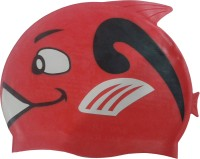 Fab5 Fish Shape Swimming Cap (Red, Pack Of 1)