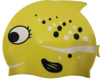 Fab5 Fish Shape Swimming Cap (Yellow, Pack Of 1)
