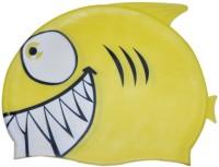 Swimcart Yellow SHARK PRINT FOR KIDS Swimming Cap (Yellow, Pack Of 1)