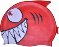 Swimcart RED SHARK PRINT FOR KIDS Swimming Cap (Red, Pack Of 1)