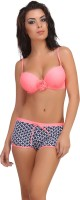Clovia Clovia 2 Piece Polyamide SwimSuit Of Padded Bra & Printed Hipster In Pink Solid Girl's