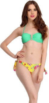 Clovia Clovia 2 Piece Polyamide SwimSuit Of Padded Bra & Printed Brief In Aqua Solid Women's