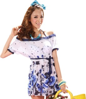 Fascinating Blue Iconic Floral Polka Print Women's