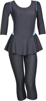 Champ Grey Padded Costume With 3/4th Leg Striped Women's