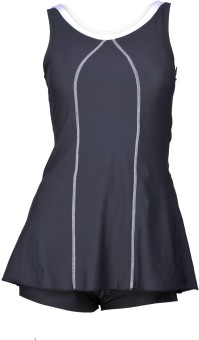 Champ Grey Padded Frock Swimwear With Bloomer Striped Women's