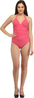 Secret Wish Forever One-Piece Pink Swimsuit With Gold Accessories Solid Women's