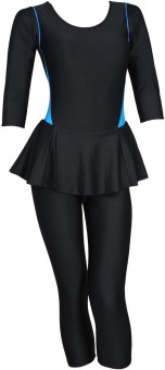 Champ Black Padded Costume With 3/4th Leg Striped Women's