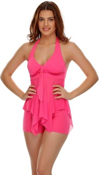 Clovia Swimwear In Hot Pink Solid Women's