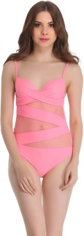 Clovia Clovia Polyamide & Powernet Monokini SwimSuit In Pink Solid Women's
