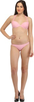 Secret Wish Baby Pink Strappy Halter Bikini Solid Women's