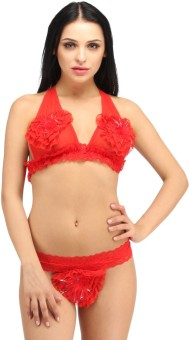 Snoby Red Bra & Brief In Lace (SBY7008) Solid Women's