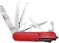 ShopnGift Military 10 Tool Multi-utility  Swiss Knife (Red)