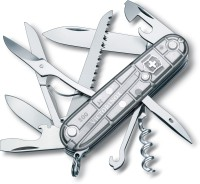 Victorinox Huntsman Silvertech Original 15 Tool Multi-utility  Swiss Knife (Silver Transparent)