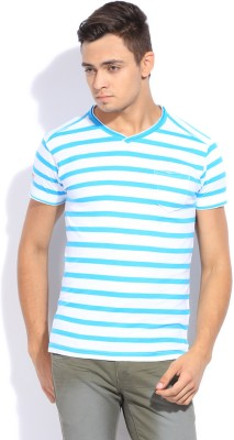 Mufti Mufti Striped Men's V-Neck T-Shirt (Turquoise)