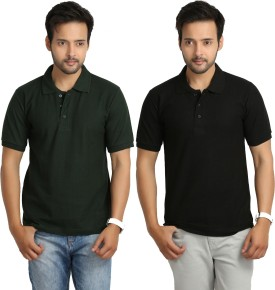 Weardo Solid Men's Polo Neck Black, Dark Green T-Shirt Pack Of 2