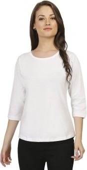 Threadz Solid Women's Round Neck White T-Shirt