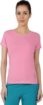 Red Ring Solid Women's Round Neck Pink T-Shirt