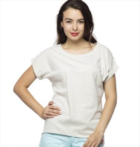 American Swan Solid Women's Round Neck White T-Shirt