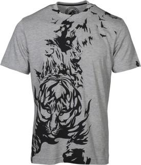 Huetrap Crouching Tiger Grey Graphic Print Men's Round Neck T-Shirt