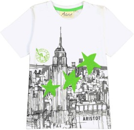 Aristot Graphic Print Boy's Round Neck Grey T-Shirt