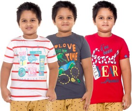 Menthol Striped, Printed Boy's Round Neck White, Grey, Red T-Shirt Pack Of 3