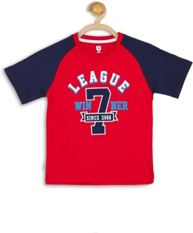 612 League Graphic Print Boy's Round Neck Red T-Shirt