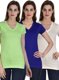 Youthen Solid Women's V-neck White, Blue, Green T-Shirt Pack Of 3