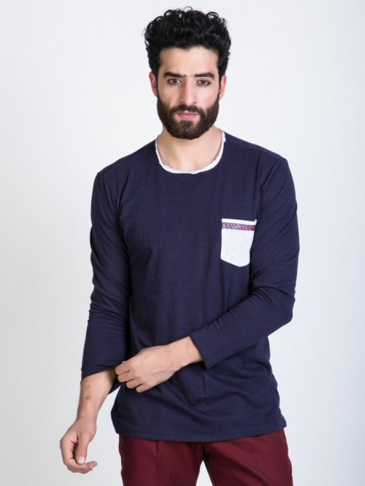 Mr Button Blue Full Sleave With Patch Pocket Solid Men's Round Neck T-Shirt