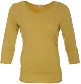 A33 Store Cotton Full Sleeve Yellow Solid Women's Round Neck T-Shirt