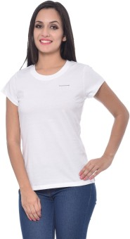 Frenchtrendz Solid Women's Round Neck White T-Shirt